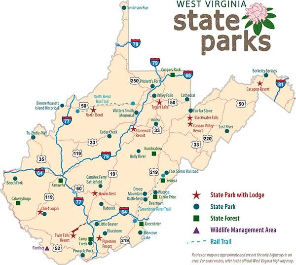 Wv State Map With Park Locations Rv Wv State State