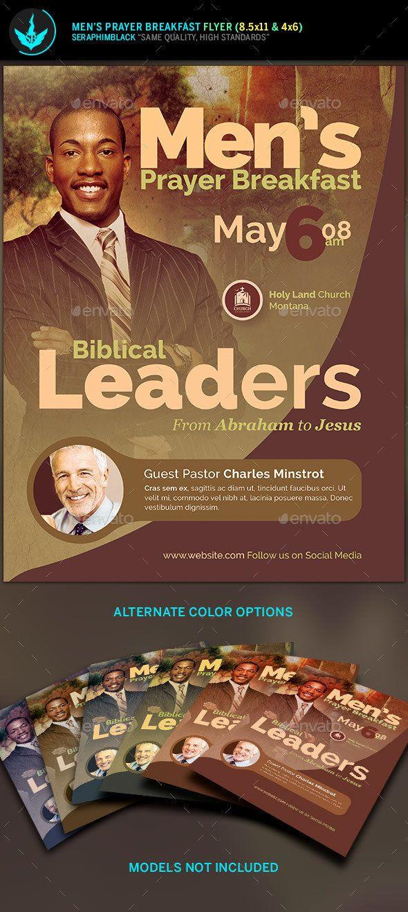 men u2019s prayer breakfast church flyer template