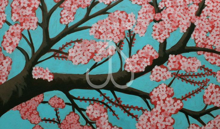 "Cherry Blossoms, Acrylic painting, 10""x15"""