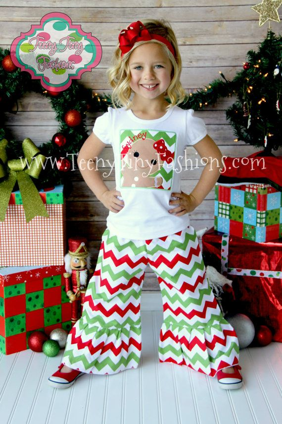 Chevron Red And Green Ruffled Boutique Pants Holiday