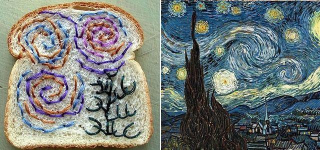 식빵위에서 다시 태어난 반고흐의 별이 빛나는 밤 (FOOD ART by Catherine McEver)