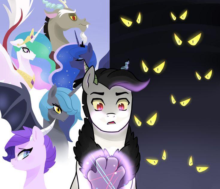 #687956 - artist:kilala97, discord, dislestia, fanfic art, fanfic cover, oc, oc:crystal clarity, oc:prince illusion, princess celestia, princess luna, safe, shipping - Derpibooru - My Little Pony: Friendship is Magic Imageboard