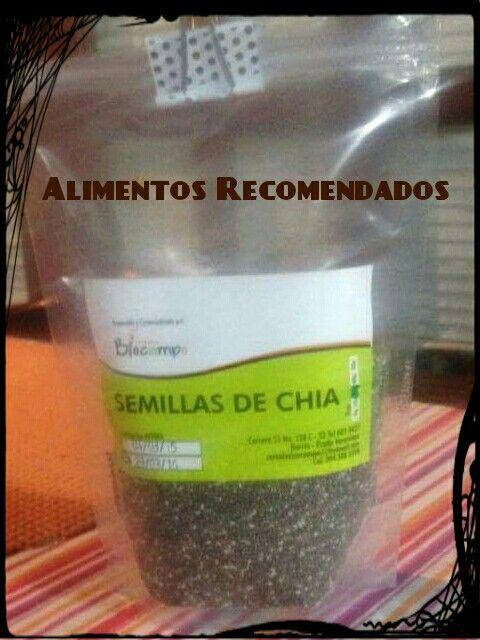 Alimentos Recomendados: La semilla de chía es un excelente antioxidante, suele utilizarse para bajar de peso. Reguña la flora intestinal pues tiene un elevadl contenido en fibra así que es muy fácil de digerirny por lo tanto bueno para la salud.