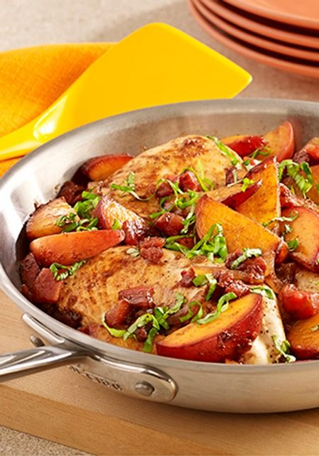 Peach Balsamic Chicken Skillet recipe--tossed with balsamic vinegar and topped with fresh basil.