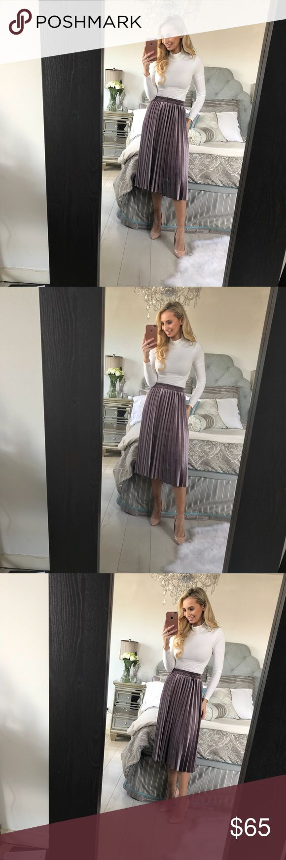 Light Purple Velvet Pleated Skirt This skirt is the fashion trend for 2018, A-line wonder boast, midi-length and perfect for Spring! Material: Cotton, Polyester Fabric: Velvet Waistline: Empire Size            Waist (Width)     Waist (Relaxed)   Skirt Length One Size    22                         36                       28.7 Little Pearls of Life Skirts Midi