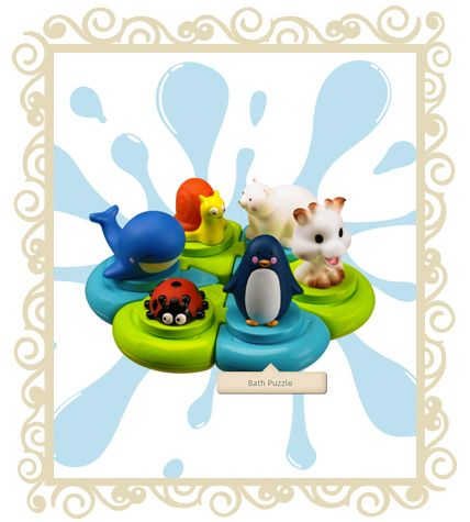 Sofie Giraffe Bath Puzzle  Bath Toy with Sophie Giraffe and her friends. Shapes to be fitted together to become a toy set for baby to play with. Funny characters to be fitted onto different shapes: Sophie the Giraffe and all her friends: a penguin, a whale, a snail, a baby and a ladybird. The characters and shapes float on water. They spray out water when their bodies are pressed. Perfect for developing baby's motor skills, concentration and logic. Age 10months+.  $39.00