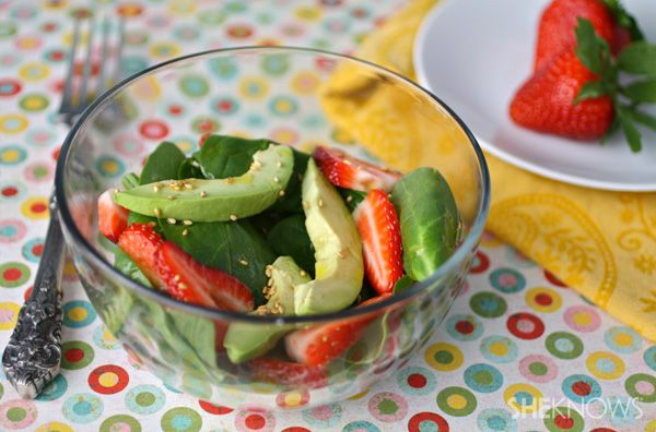 Spinach Salad with Avocados and Strawberries.