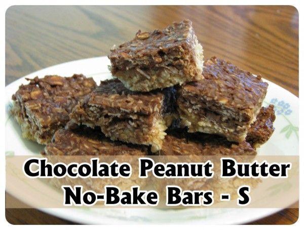 Trim Healthy Mama {Chocolate Peanut Butter No-Bake Bars - S