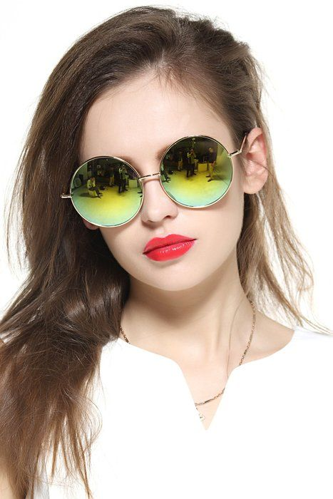 Gee-Look Oversized Round Circle Mirrored Hippie Hipster Sunglasses - Metal Frame (Multicoloured, as picture)