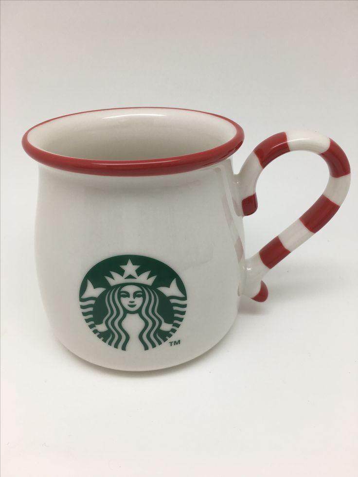 ホリデーマグキャンディーケーン 355ml キャンディーケーン柄のハンドルのマグカップ  白い丸みのある形のマグカップに、シンプルにロゴをデザインしました。ハンドル部分は、クリスマスを代表するお菓子のキャンディーケーンをイメージしています。   starbucks.