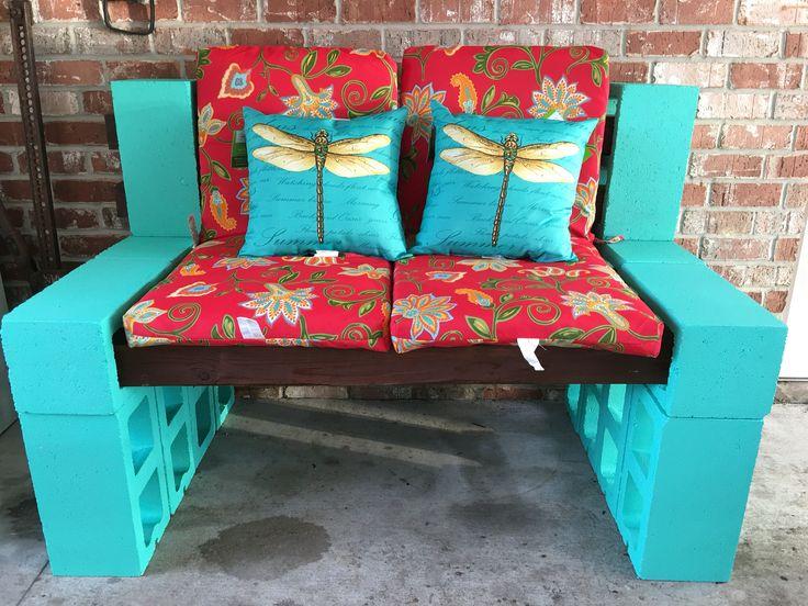 Cinder Block Bench Outdoor Patio Ideas Pinterest