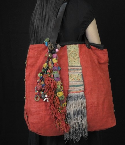 Red Orange Hemp Hippie Bohemain Bag P0006