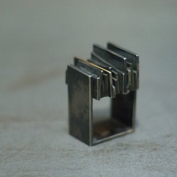 Massive Silver and Gold Square Ring  - Statement Ring