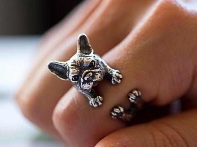 Ring Bulldogge, nickelfrei Messing // french bulldog ring, nickel-free via DaWanda.com