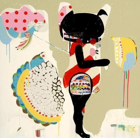 Kate McCarthy Cake 2 - 2012 Acrylic enamel, enamel, fabric, thread, oil on canvas 101.6 x 101.6cm