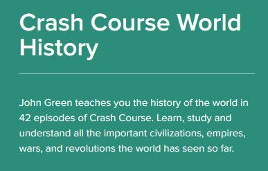 A series of interactive videos - covering world history. Produced by the Khan Academy & Crash Course