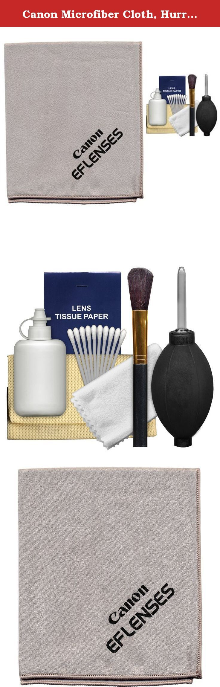 Canon Microfiber Cloth, Hurricane Blower, Brush, Fluid & Tissue Cleaning Kit for EF Lenses & EOS 6D, 70D, 7D, 5DS, 5D Mark II III, Rebel T5, T5i, T6i, T6s, SL1 DSLR Camera. Kit includes: ♦ 1) Canon EF Lenses Microfiber Lens Cleaning Cloth ♦ 2) Precision Design 6-Piece Camera & Lens Cleaning Kit This Canon EF Lenses Microfiber Cleaning Cloth is an ideal solution for keeping your camera and lenses smudge-free. Made from a soft, lint-free material. This cloth is 100% safe for all lenses, LCD...