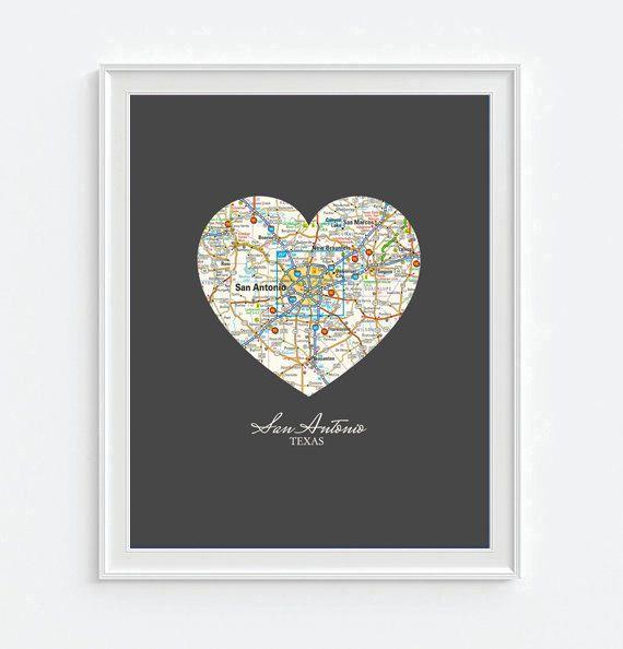 San Antonio Texas Heart Vintage Map ART PRINT City San