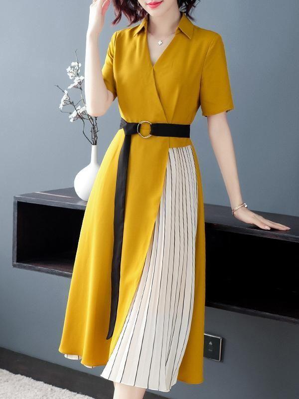 Yellow Elegant Belted V Neck Skater Striped A Line Dress Material Polyester Spandex Style Casual Silhouette A Line Dr 2020 Elbise Modelleri Kiyafet Moda Stilleri