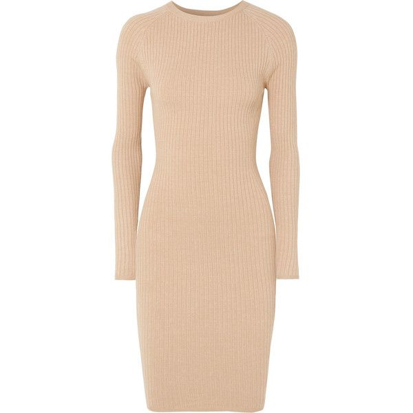 Victor Glemaud Ribbed cotton-blend mini dress ($545) ❤ liked on Polyvore featuring dresses, camel, ribbed mini dress, slim fit dress, slip on dress, travel dresses and ribbed dress