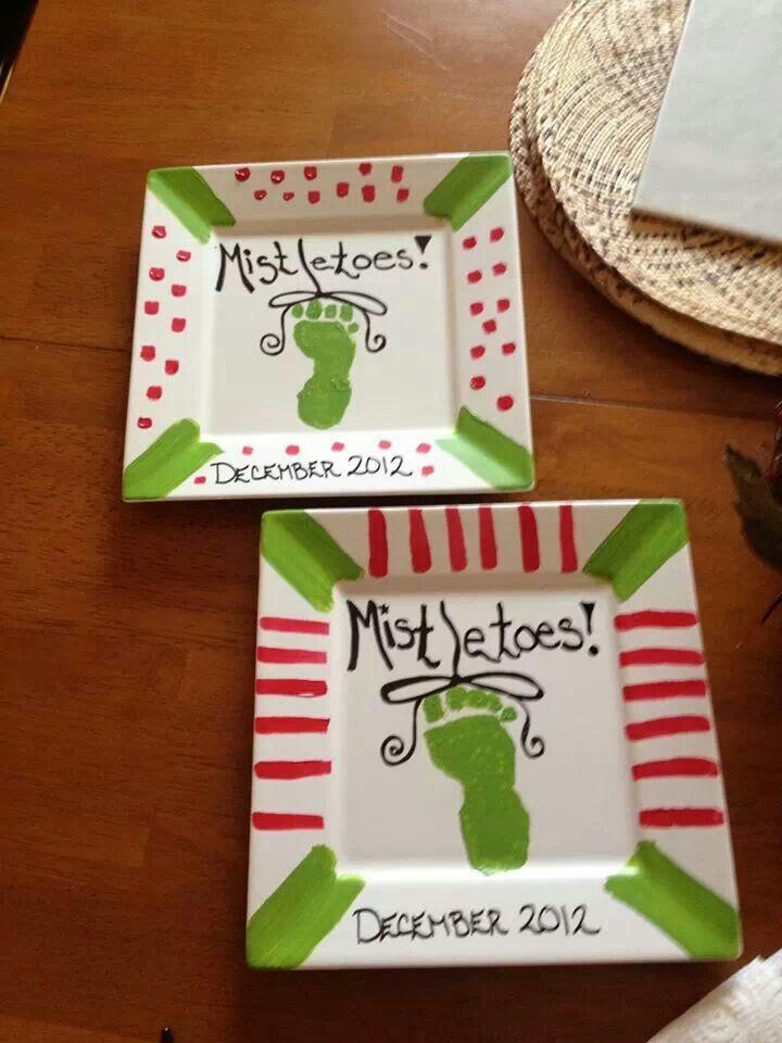 Footprint plate idea for Christmas!