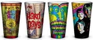 Beatles - Radio Days Art 4 Pint Glass Set. New Beatles glasses from Sunshine Daydream. http://www.sunshinedaydream.biz/beatles-radio-days-pint-glass-set.html . #Beatles  #hippieshop