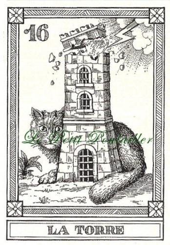 Vintage 1990 Menegazzi Engraved Cat Tarot Fortune Telling Feline Cards, 9 11 13 16