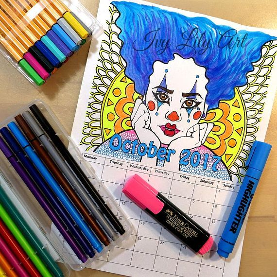 Printable Coloring Calendar October 2017 Halloween Clown. October 2017 Coloring Calendar! Printable PDF coloring calendar you can download instantly with a portrait of a Halloween clown girl. This listing only includes the calendar page for October 2017. The name of the month can also be colored.