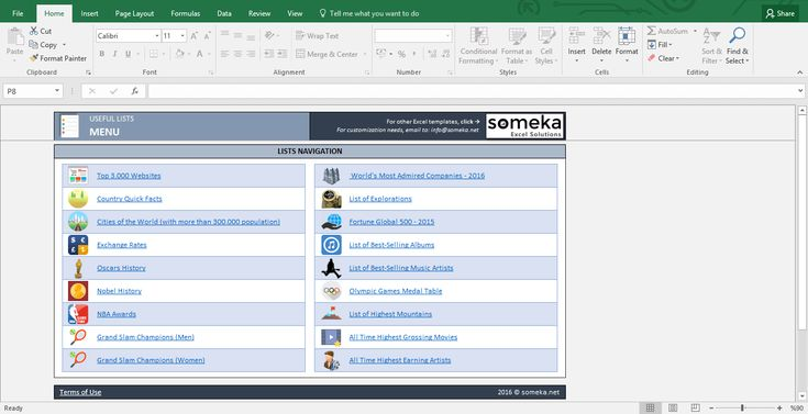 Usufel List - Excel Template: An excel document including many lists from different areas like business, sports, entertainment, geography and more. (FREE download from someka.net)  #excel #template #spreadsheet #personal #business #lists #info #printable #free