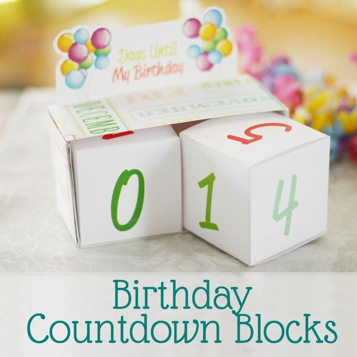 Birthday Countdown Blocks Free Printable by Saynotsweetanne.com                                                                                                                                                                                 More