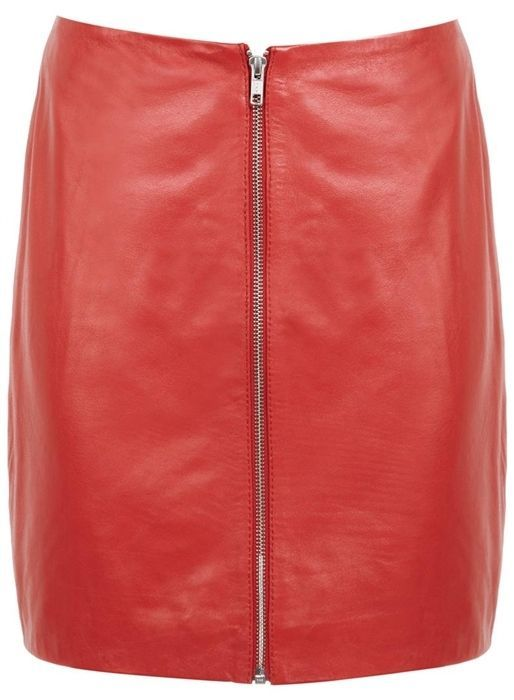 NEW Miss Selfridge REAL Leather Red Mini Skirt Zip Front 4 6 8 10 12 14 RRP £60