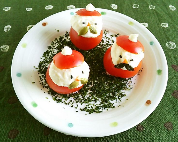 Xmasに☆トマトと豆腐で簡単ゆるサンタ by アイダです [クックパッド] 簡単おいしいみんなのレシピが223万品