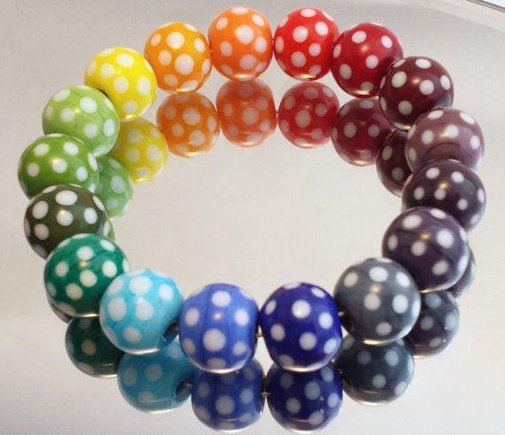 Pick 'n' Mix Polka Dot Handmade Lampwork Round by ALittleTrinket