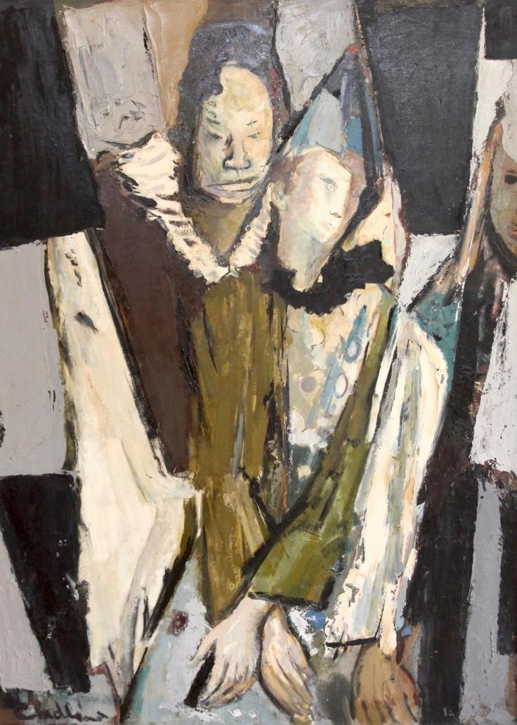 """Paul Chidlaw (1900-1989), """"Harlequins"""", Oil painting"""