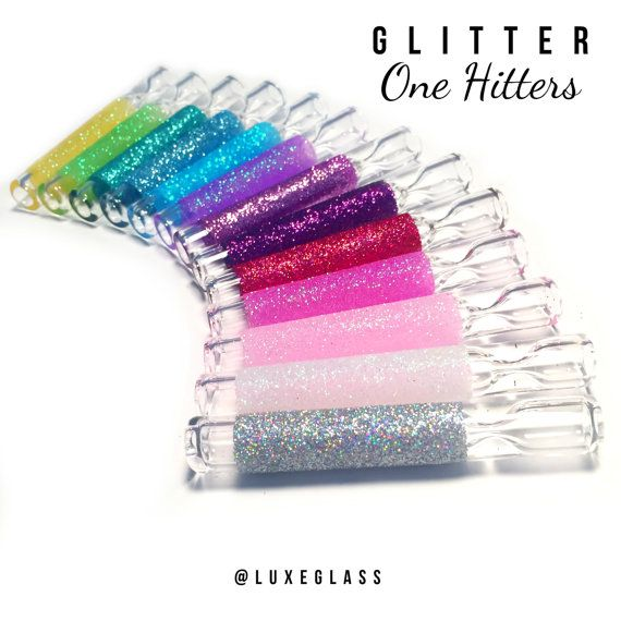 Glitter Glass One Hitter / Chillums by LuxeGlass on Etsy