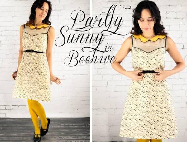robe grosgrain jaune Patron gratuit : robe dété rétro