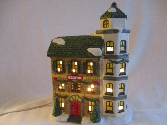Christmas Street Village Lighted Porcelain Inn by by VantiqueFinds