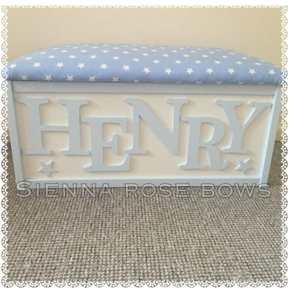 Childrens Personalised toy box/bench by SiennaRoseBows on Etsy