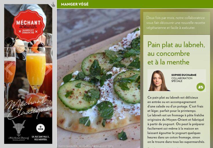 Pain plat au labneh, au concombre et à la menthe - La Presse+