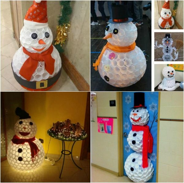 creative winter craft diy snowman made from plastic cups christmas crafts pinterest christmas snowman and outdoor christmas decorations