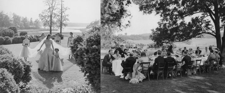 Left: Miss Sidney Bacon's outdoor garden wedding. Right: Evelyn Byrd Dows' midsummer wedding, where guests dined at one long banquet table shaded by a giant oak tree.