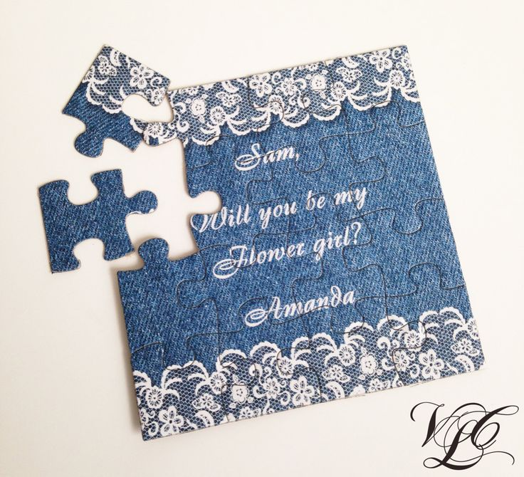 Personalized Denim and Lace Bridesmaid proposal puzzle, Will You Be My Maid of Honor, Invitation puzzle, Be my Bridesmaid, Ask Bridesmaid by VintageChicLace on Etsy