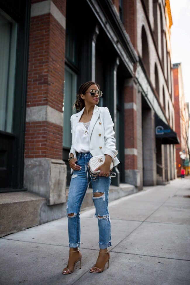 68938115f5dc fashion blogger mia mia mine wearing a white lioness blazer and a gucci  marmont mini bag