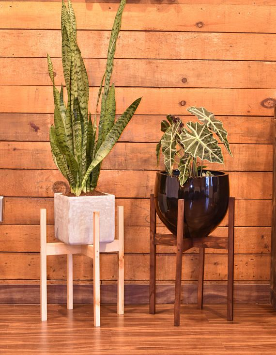 Set of Two Large Plant Stands Mid Century Modern Plant Stands