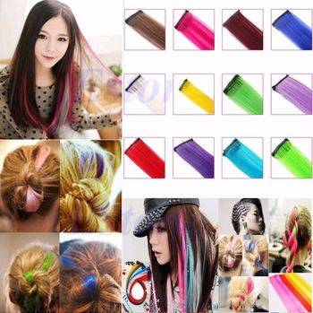 Synthetic Long Straight Colorful Hair Clip In On Hair Extensions Piece Highlight Professional Makeup Brush Set