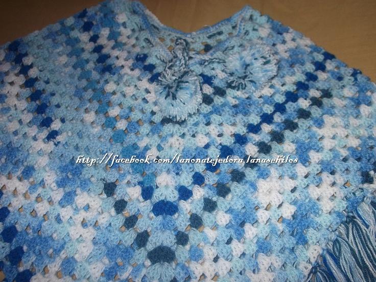 Pncho de bebe, tejido a crochet.