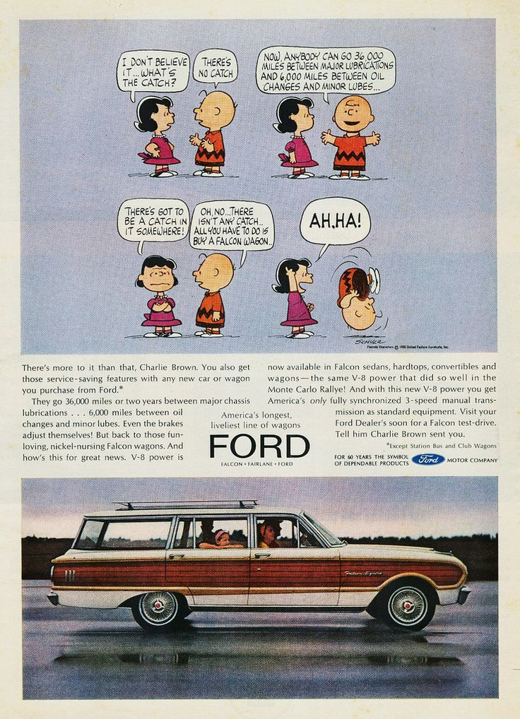 Charlie Brown Advertises For The Falcon Wagon