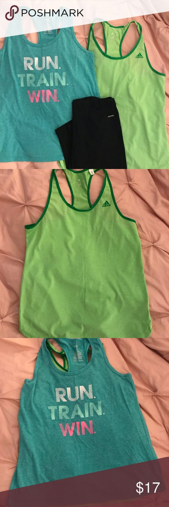 Jockey yoga crop with workout tanks Black jockey yoga crops never worn with adidas green workout tanks size medium and blue Daskin size large tank never worn Pants Leggings