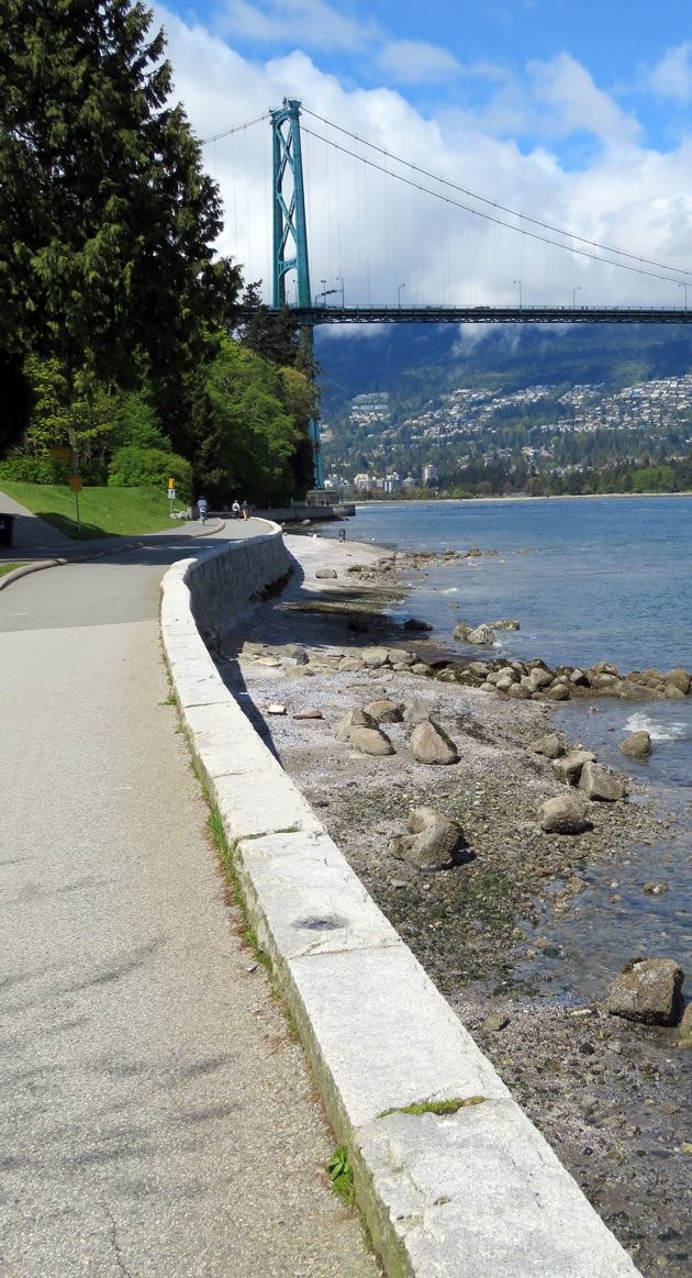On the seawall around Stanley Park, Vancouver - Lions Gate Bridge.  In the 60's, every week my family watched an old man build this layer by layer