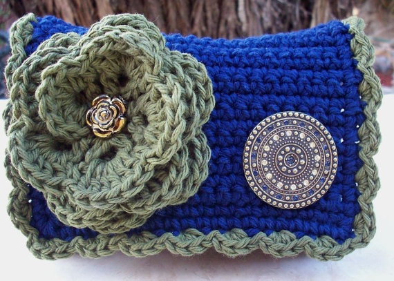 electric blue and olive green clutch